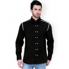 1309 Black Casual Shirt with White Contrast and Double Button3