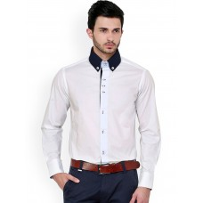 1311 White Casual Shirt with Blue and Black Contrast