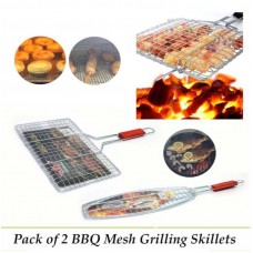 Pack Of 2 BBQ Mesh Grilling Skillets