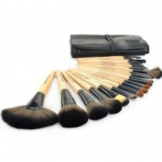 24 Piece Makeup Brush Set With Leather Pouch