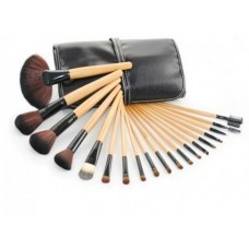 18 Piece Makeup Brush Set With Leather Pouch
