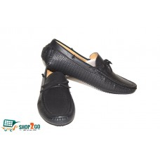 Black Leather Loafers for Men - Code: B-841