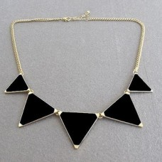Black Geometrical Triangle Necklace for Women